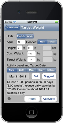 iPhone Target Weight Calculator